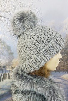 Silver Grey Knitted Bobble Hats