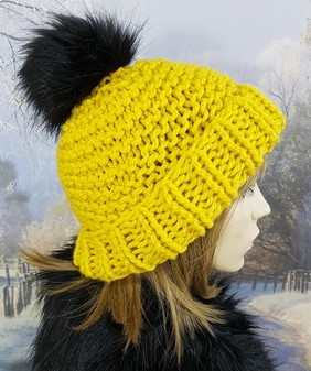 Sunflower Yellow Knitted Bobble Hat