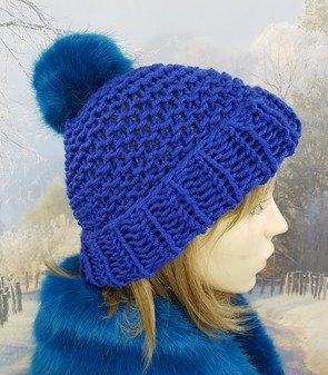 Royal Blue Knitted Bobble Hat