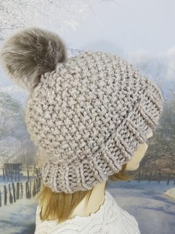 Oatmeal Knitted Bobble Hats