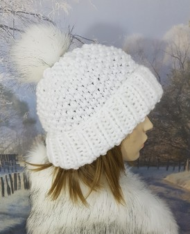 White Knitted Bobble Hats