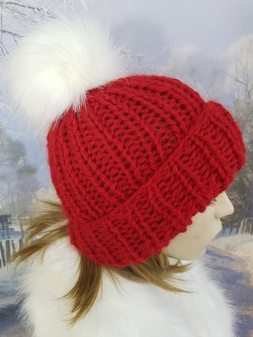 Berry Red Knitted Bobble Hats