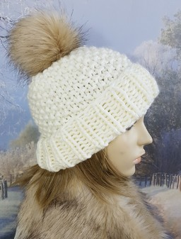 Cream Knitted Bobble Hats