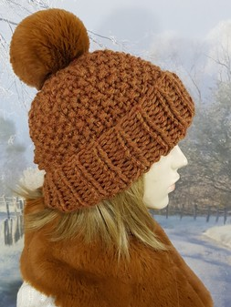 Russet Knitted Bobble Hats