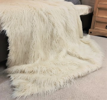 Mongolian Ivory Faux Fur Throw