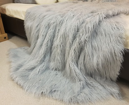 Mongolian Silver Faux Fur Throws
