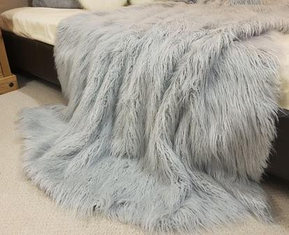 Mongolian Silver Faux Fur Throws