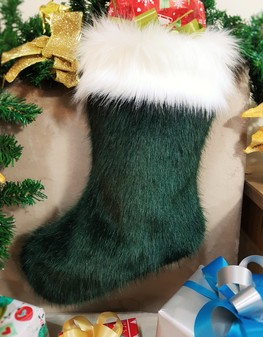 Hunter Green and Polar Bear Faux Fur Stocking