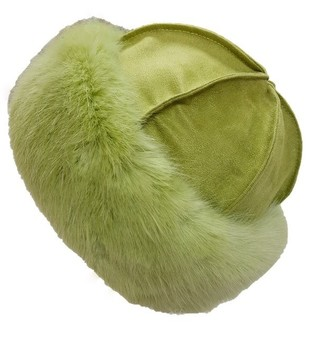 Pistachio Faux Fur Roller Hat