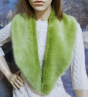 Pistachio Faux Fur Lapel Collar