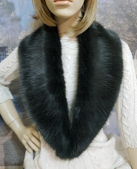 Charcoal Mink Faux Fur Lapel Collar