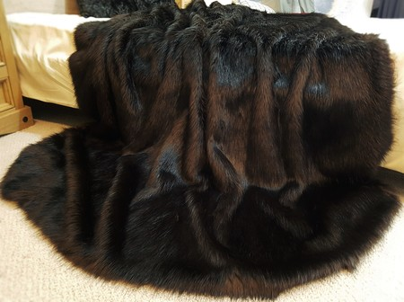 SALE Lap Throw Coco Faux Fur with Chocolate Velboa