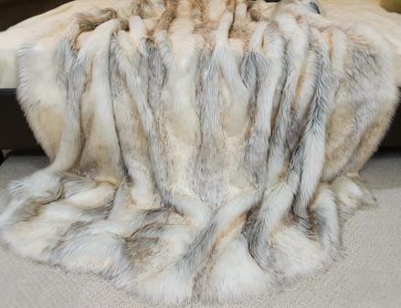 SALE Lap Throw Snow Wolf Faux Fur with Cream Velboa