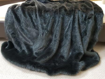 SALE Lap Throw Charcoal Faux Fur with Graphite Velboa