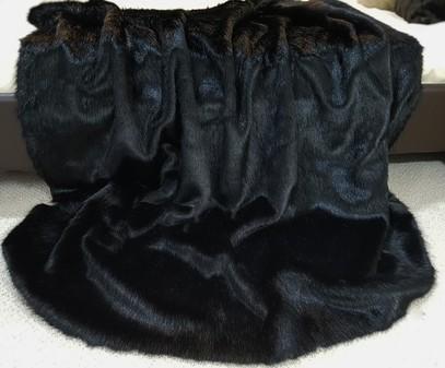 SALE Black Mink Faux Fur Throw with Black Velboa
