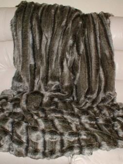 SALE Smokey Mountain Faux Fur Throw with Graphite Velboa