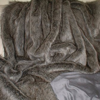 SALE Timber Wolf Faux Fur Throw with Graphite Velboa