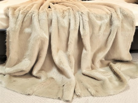 SALE Long Honey Blonde Faux Fur Throw with Latte Velboa