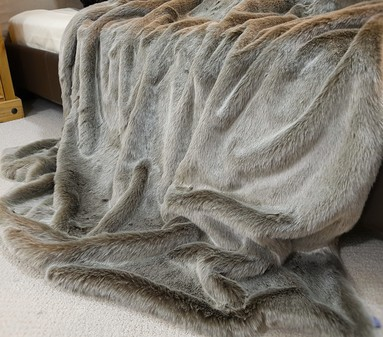 SALE Extra Long Koala Faux Fur Throw with Latte Velboa