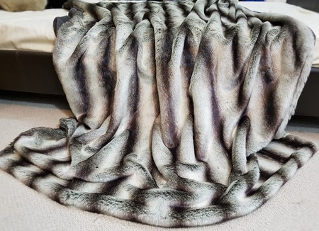SALE Extra Long Chinchilla Faux Fur Throw with Graphite Velboa