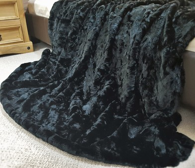 SALE Double Width Black Astra Faux Fur Throw with Black Velboa