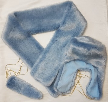SALE Powder Blue Faux Fur Scarf, Trapper Hat and Cuffs Set