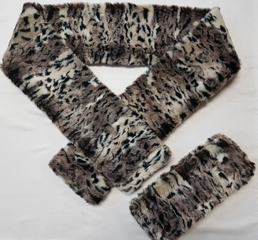 SALE Wild Cat Faux Fur Scarf & Headband Set