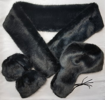 SALE Charcoal Mink Faux Fur Scarf, Trapper Hat & Cuffs