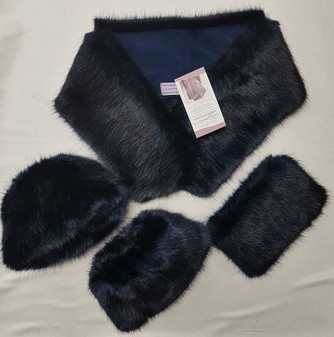 SALE Midnight Navy Faux Fur Neck Scarf, Purse & Boot Toppers Set