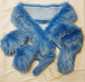 SALE Sky Blue Faux Fur Scarf, Trapper Hat, Boot Toppers & Tails Bag Charm