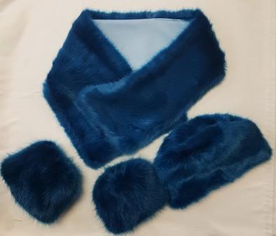 SALE Azure Faux Fur Asymmetric Scarf, Hat & Cuffs Set
