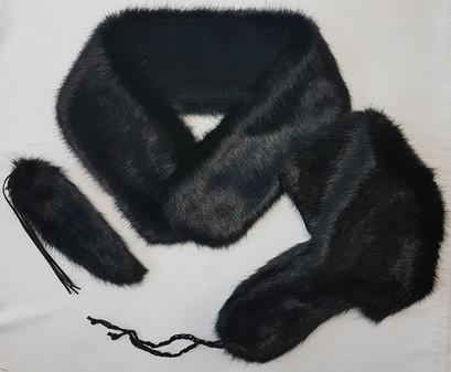 SALE Black Mink Faux Fur Neck Scarf, Trapper Hat and Tails Bag Charm Set