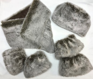 SALE Koala Faux Fur Cuffs, Asymmetric Scarf, Hat & Boot Toppers Set