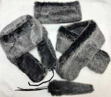SALE Arctic Faux Fur Trapper Hat, Headband, Neck Scarf & Tails Bag Charm Set