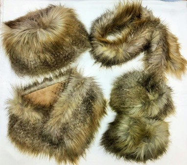 SALE Coyote Faux Fur Hat, Slim Collar, Boot Toppers & Long Collar Set