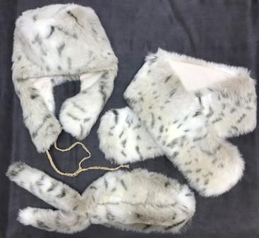 SALE Snow Lynx Faux Fur Trapper Hat, Pull Through Scarf & Slim Collar Set