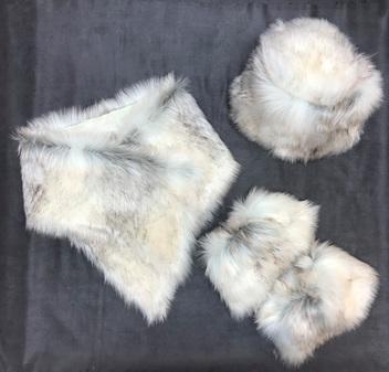 SALE Snow Wolf Faux Fur Hat, Asymmetric Scarf & Boot Toppers Set