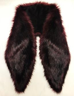SALE Tuscan Red Faux Fur Shawl Collar