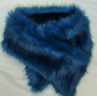 SALE Blue Lagoon Faux Fur Asymmetric Scarf