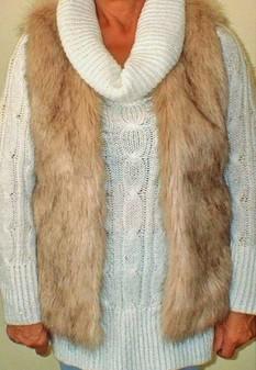 SALE Fawn Musquash Faux Fur Gilet Size 14