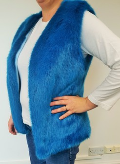 SALE Azure Faux Fur Gilet Size 14