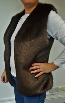 SALE Mahogany Faux Fur Gilet Size 16/18