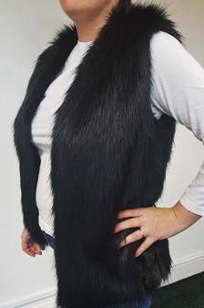 SALE Black Bear Faux Fur Gilet Size 14