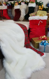 Polar Bear Faux Fur Throw with Red Tartan