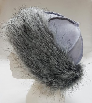 Silver Musquash Faux Fur Roller Hat
