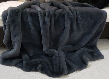 Slate Grey Faux Fur Throws