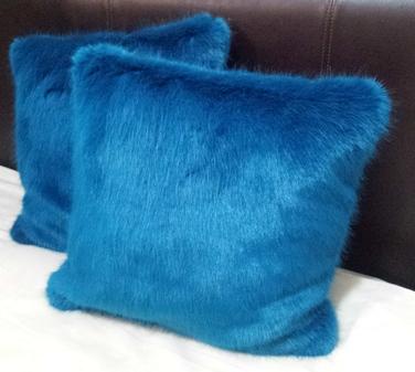 Azure Blue Faux Fur Cushions