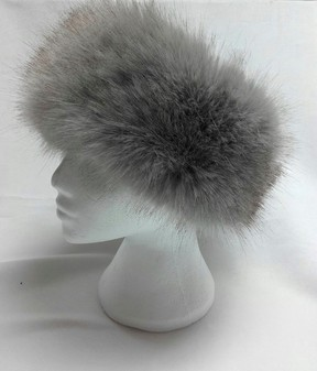 Tissavel Tundra Wolf Grey Faux Fur Headband