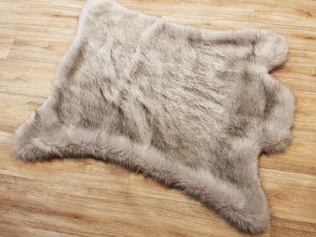 Tissavel Tundra Wolf Faux Fur Rug