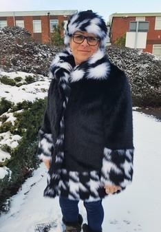Black Mink and Tissavel Houndstooth Faux Fur Coat